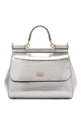 Женская сумка sicily medium DOLCE & GABBANA серебряного цвета, арт. BB6002/AJ244 | Фото 1 (Ремень/цепочка: На ремешке; Размер: medium; Материал: Натуральная кожа; Сумки-технические: Сумки top-handle)