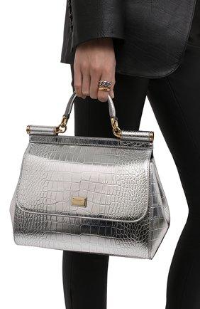 Женская сумка sicily medium DOLCE & GABBANA серебряного цвета, арт. BB6002/AJ244 | Фото 2 (Ремень/цепочка: На ремешке; Размер: medium; Материал: Натуральная кожа; Сумки-технические: Сумки top-handle)