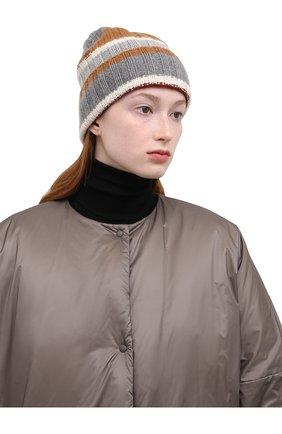 Женская кашемировая шапка LORO PIANA светло-серого цвета, арт. FAL6083 | Фото 2 (Материал: Шерсть, Кашемир)