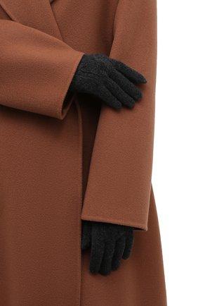 Женские кашемировые перчатки LORO PIANA темно-серого цвета, арт. FAI8570 | Фото 2 (Материал: Кашемир, Шерсть)