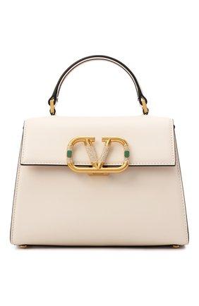 Женская сумка vsling  small VALENTINO кремвого цвета, арт. WW0B0F53/WFD   Фото 1 (Ремень/цепочка: На ремешке; Материал: Натуральная кожа; Размер: small; Сумки-технические: Сумки top-handle)
