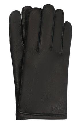 Мужские кожаные перчатки BOSS черного цвета, арт. 50457533 | Фото 1 (Мужское Кросс-КТ: Кожа и замша)
