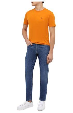 Мужская хлопковая футболка C.P. COMPANY оранжевого цвета, арт. 11CMTS037A-005100W | Фото 2 (Материал внешний: Хлопок; Стили: Спорт-шик; Рукава: Короткие; Длина (для топов): Стандартные; Принт: С принтом)