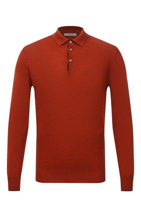 Мужское поло из шерсти и кашемира FIORONI оранжевого цвета, арт. MK23302C1 | Фото 1 (Рукава: Длинные; Материал внешний: Шерсть; Длина (для топов): Стандартные; Застежка: Пуговицы; Кросс-КТ: Трикотаж; Стили: Кэжуэл)