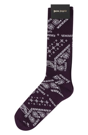 Мужские хлопковые носки PALM ANGELS фиолетового цвета, арт. PMRA001F21FAB0073703   Фото 1 (Материал внешний: Хлопок; Кросс-КТ: бельё)