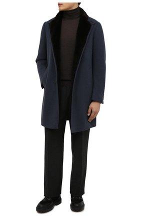 Мужской кашемировое пальто с меховой подкладкой ERMENEGILDO ZEGNA синего цвета, арт. 277022/42PNS0 | Фото 2 (Материал утеплителя: Пух и перо; Рукава: Длинные; Длина (верхняя одежда): До середины бедра; Материал внешний: Кашемир, Шерсть; Мужское Кросс-КТ: пальто-верхняя одежда; Стили: Классический)