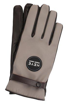 Мужские комбинированные перчатки GIORGIO ARMANI бежевого цвета, арт. 744177/1A713 | Фото 1 (Материал: Синтетический материал, Текстиль; Мужское Кросс-КТ: Кожа и замша)
