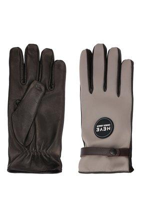 Мужские комбинированные перчатки GIORGIO ARMANI бежевого цвета, арт. 744177/1A713 | Фото 2 (Материал: Синтетический материал, Текстиль; Мужское Кросс-КТ: Кожа и замша)