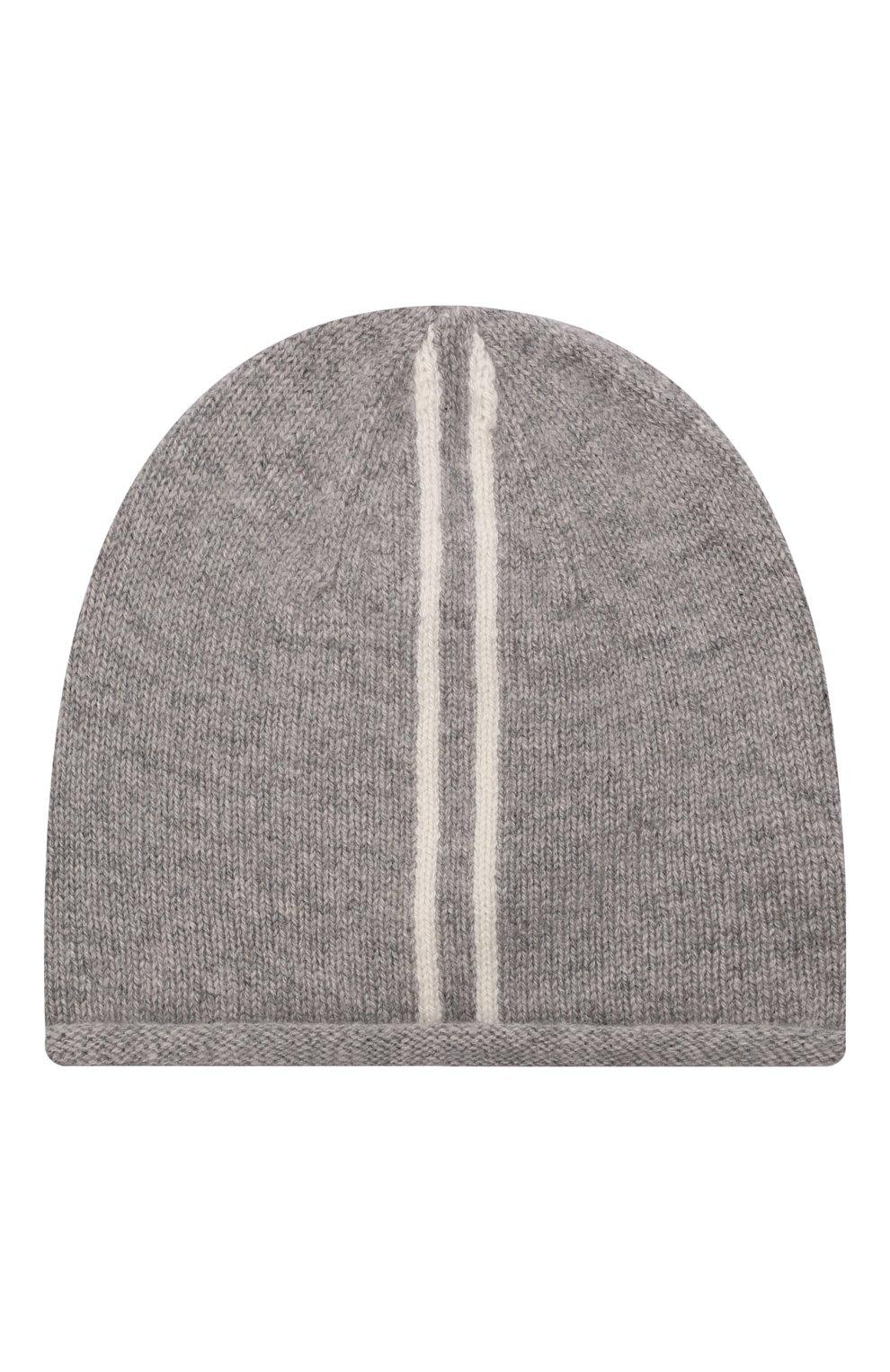 Детского кашемировая шапка OSCAR ET VALENTINE серого цвета, арт. BON15A   Фото 1 (Материал: Кашемир, Шерсть)