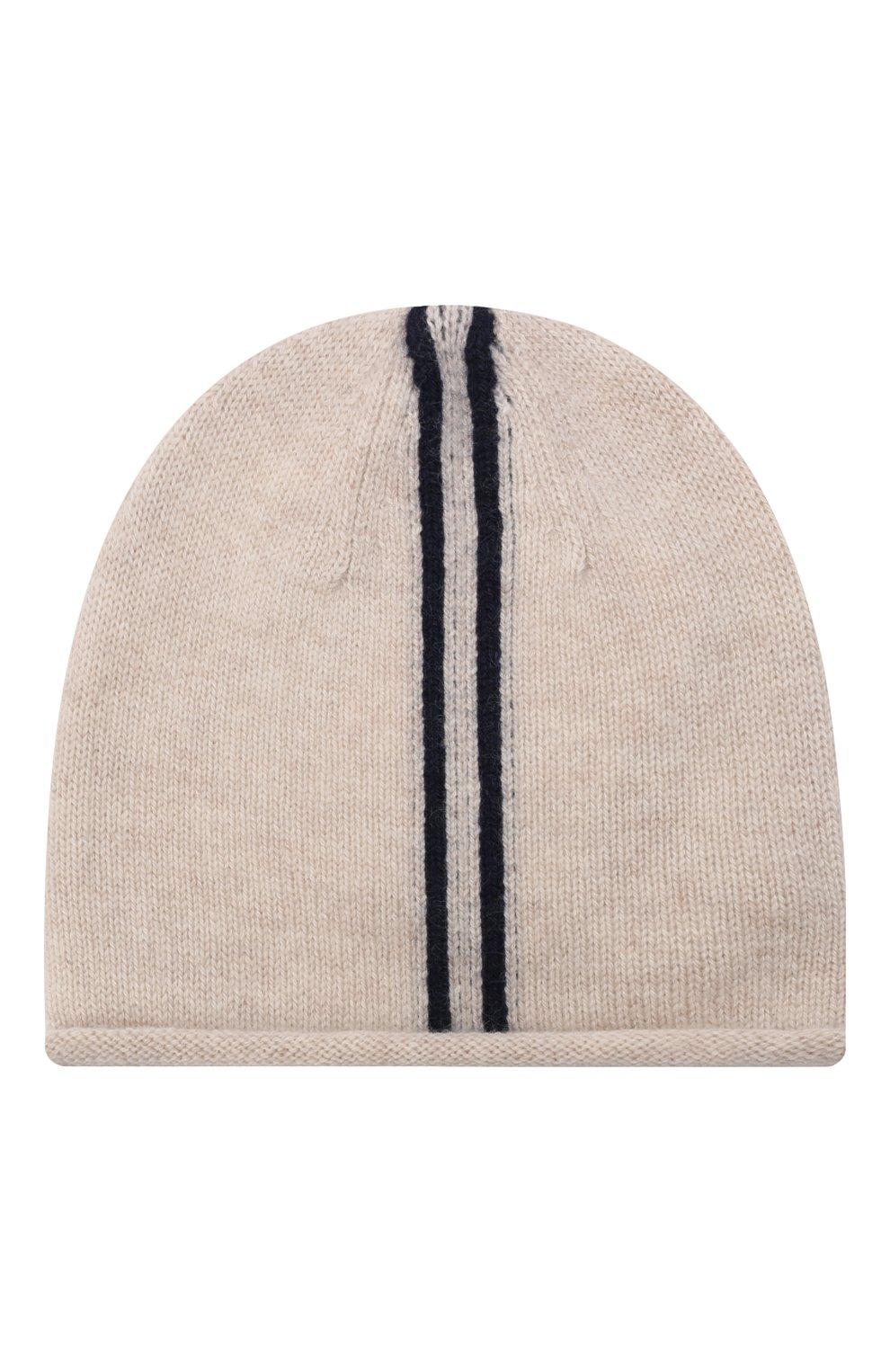 Детского кашемировая шапка OSCAR ET VALENTINE бежевого цвета, арт. BON15A | Фото 1 (Материал: Кашемир, Шерсть)