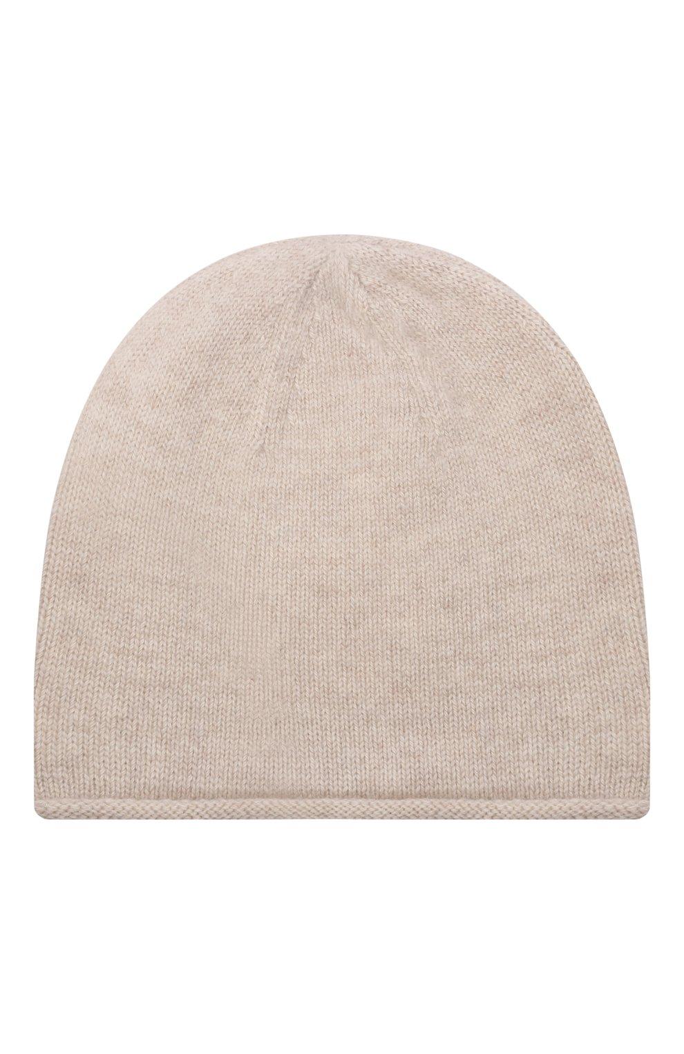 Детского кашемировая шапка OSCAR ET VALENTINE бежевого цвета, арт. BON15A | Фото 2 (Материал: Кашемир, Шерсть)
