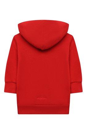 Детский хлопковое худи BALENCIAGA красного цвета, арт. 682141/TLV66 | Фото 2 (Материал внешний: Хлопок; Мальчики Кросс-КТ: Толстовка-одежда; Рукава: Длинные)