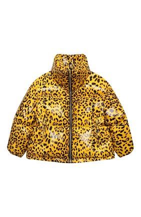 Детская пуховая куртка DOLCE & GABBANA желтого цвета, арт. L5JBJ4/FSRNH/8-14   Фото 1 (Рукава: Длинные; Материал подклада: Синтетический материал; Материал утеплителя: Пух и перо; Материал внешний: Синтетический материал; Кросс-КТ: Сезон: зима; Девочки Кросс-КТ: Пуховик-верхняя одежда)
