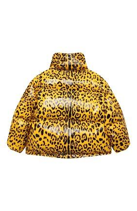Детская пуховая куртка DOLCE & GABBANA желтого цвета, арт. L5JBJ4/FSRNH/8-14   Фото 2 (Рукава: Длинные; Материал подклада: Синтетический материал; Материал утеплителя: Пух и перо; Материал внешний: Синтетический материал; Кросс-КТ: Сезон: зима; Девочки Кросс-КТ: Пуховик-верхняя одежда)