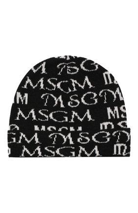 Детского шапка MSGM KIDS черного цвета, арт. MS027837   Фото 1 (Материал: Синтетический материал, Текстиль, Шерсть, Вискоза)