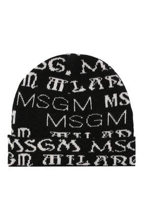 Детского шапка MSGM KIDS черного цвета, арт. MS027837   Фото 2 (Материал: Синтетический материал, Текстиль, Шерсть, Вискоза)