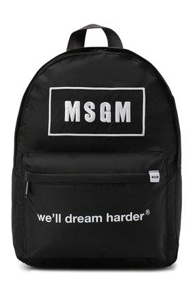 Детская рюкзак MSGM KIDS черного цвета, арт. MS027729   Фото 1 (Материал: Текстиль)