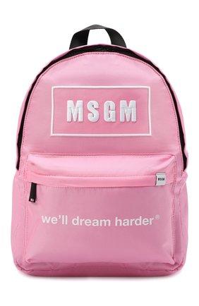 Детская рюкзак MSGM KIDS розового цвета, арт. MS027729   Фото 1 (Материал: Текстиль)