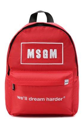 Детская рюкзак MSGM KIDS красного цвета, арт. MS027729   Фото 1 (Материал: Текстиль)