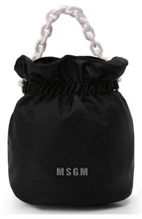 Детская сумка MSGM KIDS черного цвета, арт. MS027718   Фото 1 (Материал: Текстиль)