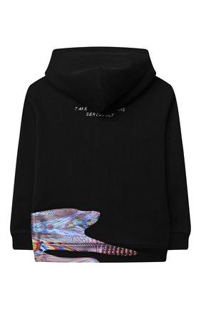 Детский хлопковая толстовка DOLCE & GABBANA черного цвета, арт. L4JWBX/G7BMB/8-14   Фото 2 (Материал внешний: Хлопок; Рукава: Длинные)