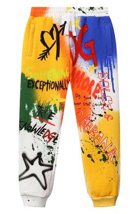Детские хлопковые джоггеры DOLCE & GABBANA разноцветного цвета, арт. L4JPDF/G7A6U/8-14   Фото 1 (Материал внешний: Хлопок; Мальчики Кросс-КТ: Брюки-спорт)