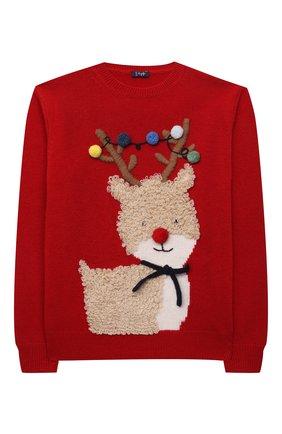 Детский шерстяной пуловер IL GUFO красного цвета, арт. A21MA379EM220/5A-8A   Фото 1 (Материал внешний: Шерсть; Рукава: Длинные; Мальчики Кросс-КТ: Пуловер-одежда)