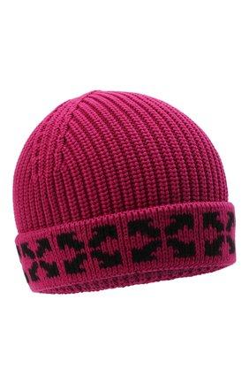 Детского хлопковая шапка OFF-WHITE фуксия цвета, арт. 0GLC001F21KNI001 | Фото 1 (Материал: Хлопок, Текстиль)