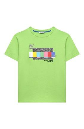 Детская хлопковая футболка DOLCE & GABBANA светло-зеленого цвета, арт. L4JTDM/G7BMC/2-6 | Фото 1 (Материал внешний: Хлопок; Рукава: Короткие)