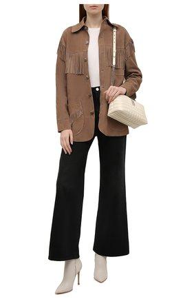 Женский замшевый жакет RALPH LAUREN светло-коричневого цвета, арт. 290858134 | Фото 2 (Рукава: Длинные; Длина (для топов): Стандартные, Удлиненные; 1-2-бортные: Однобортные; Женское Кросс-КТ: Жакет-одежда; Материал внешний: Замша; Стили: Гламурный)