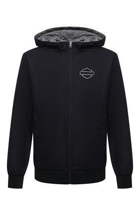 Мужской двусторонний бомбер HARLEY-DAVIDSON разноцветного цвета, арт. 97444-21VM | Фото 1 (Материал внешний: Хлопок; Материал подклада: Синтетический материал; Кросс-КТ: Куртка; Рукава: Длинные; Длина (верхняя одежда): Короткие; Стили: Спорт-шик; Принт: С принтом)