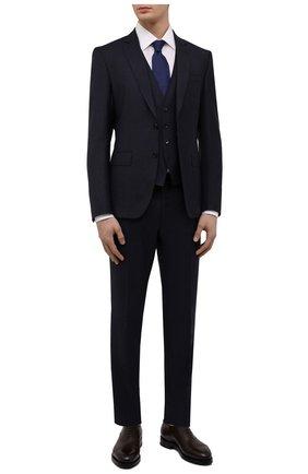 Мужской шерстяной костюм-тройка BOSS темно-синего цвета, арт. 50460307   Фото 1 (Материал внешний: Шерсть; Рукава: Длинные; Костюмы М: Костюм-тройка; Стили: Классический)