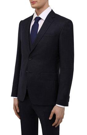 Мужской шерстяной костюм-тройка BOSS темно-синего цвета, арт. 50460307   Фото 2 (Материал внешний: Шерсть; Рукава: Длинные; Костюмы М: Костюм-тройка; Стили: Классический)