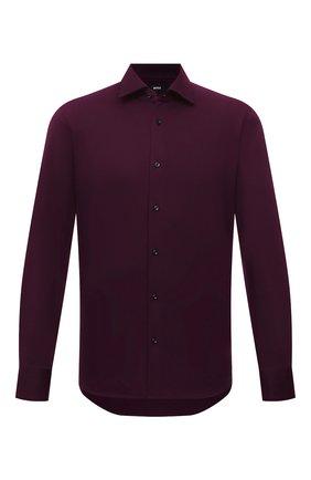 Мужская хлопковая рубашка BOSS темно-фиолетового цвета, арт. 50463009   Фото 1 (Материал внешний: Хлопок; Случай: Повседневный; Манжеты: На пуговицах; Воротник: Кент; Длина (для топов): Стандартные; Рукава: Длинные; Рубашки М: Regular Fit; Стили: Кэжуэл; Принт: Однотонные)