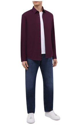 Мужская хлопковая рубашка BOSS темно-фиолетового цвета, арт. 50463009   Фото 2 (Материал внешний: Хлопок; Случай: Повседневный; Манжеты: На пуговицах; Воротник: Кент; Длина (для топов): Стандартные; Рукава: Длинные; Рубашки М: Regular Fit; Стили: Кэжуэл; Принт: Однотонные)