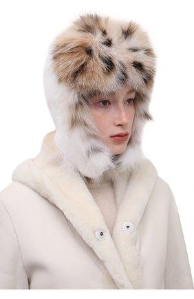 Женская шапка-ушанка из меха норки KUSSENKOVV кремвого цвета, арт. 091706052097 | Фото 2 (Материал: Натуральный мех)