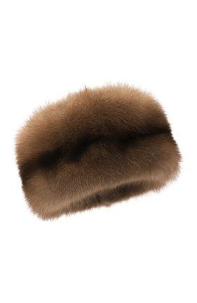Женская шапка-кубанка из меха норки и соболя KUSSENKOVV темно-бежевого цвета, арт. 061813605455   Фото 1 (Материал: Натуральный мех)