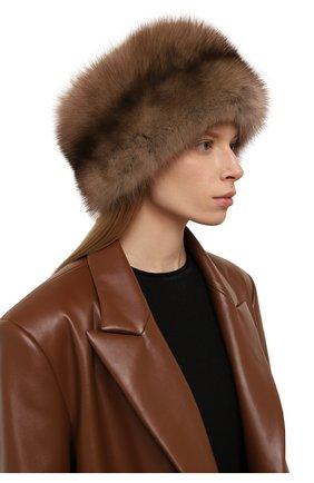 Женская шапка-кубанка из меха норки и соболя KUSSENKOVV темно-бежевого цвета, арт. 061813605455   Фото 2 (Материал: Натуральный мех)
