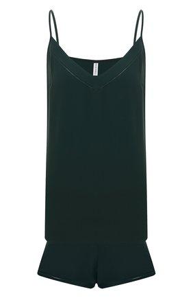 Женская пижама из вискозы и хлопка SIMONEPERELE темно-зеленого цвета, арт. 18S900-18S640   Фото 1 (Длина Ж (юбки, платья, шорты): Мини; Длина (для топов): Стандартные; Материал внешний: Вискоза)