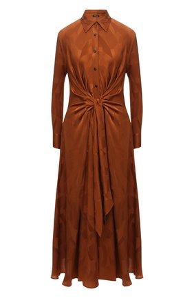 Женское шелковое платье KITON коричневого цвета, арт. D52330K0596A | Фото 1 (Длина Ж (юбки, платья, шорты): Миди; Материал внешний: Шелк; Рукава: Длинные; Стили: Романтичный; Случай: Вечерний; Женское Кросс-КТ: Платье-одежда)