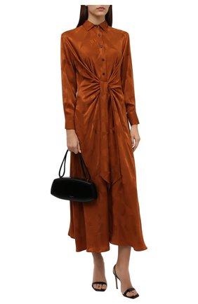 Женское шелковое платье KITON коричневого цвета, арт. D52330K0596A | Фото 2 (Длина Ж (юбки, платья, шорты): Миди; Материал внешний: Шелк; Рукава: Длинные; Стили: Романтичный; Случай: Вечерний; Женское Кросс-КТ: Платье-одежда)