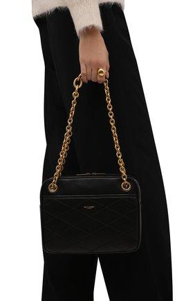 Женская сумка maillon small SAINT LAURENT черного цвета, арт. 669308/1EL07 | Фото 2 (Материал: Натуральная кожа; Размер: small; Ремень/цепочка: На ремешке; Сумки-технические: Сумки через плечо)