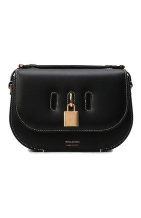 Женская сумка padlock TOM FORD черного цвета, арт. L1480T-LCL104   Фото 1 (Ремень/цепочка: На ремешке; Размер: small; Материал: Натуральная кожа; Сумки-технические: Сумки через плечо)