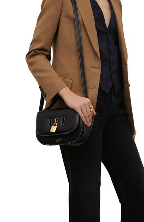 Женская сумка padlock TOM FORD черного цвета, арт. L1480T-LCL104   Фото 2 (Ремень/цепочка: На ремешке; Размер: small; Материал: Натуральная кожа; Сумки-технические: Сумки через плечо)