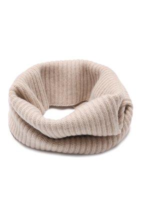 Женский кашемировый шарф-снуд LISA YANG светло-бежевого цвета, арт. 402110   Фото 1 (Материал: Шерсть, Кашемир)