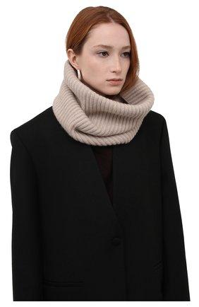 Женский кашемировый шарф-снуд LISA YANG светло-бежевого цвета, арт. 402110   Фото 2 (Материал: Шерсть, Кашемир)