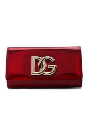 Женский клатч 3.5 DOLCE & GABBANA красного цвета, арт. BB7082/AQ495 | Фото 1 (Материал: Натуральная кожа; Женское Кросс-КТ: Клатч-клатчи, Вечерняя сумка; Размер: mini, small; Ремень/цепочка: На ремешке)