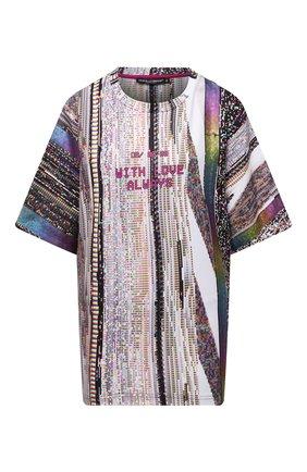Женская футболка DOLCE & GABBANA разноцветного цвета, арт. F8P12T/HU7J2 | Фото 1 (Материал внешний: Хлопок, Синтетический материал; Длина (для топов): Стандартные; Стили: Спорт-шик; Принт: С принтом; Женское Кросс-КТ: Футболка-одежда; Рукава: Короткие)