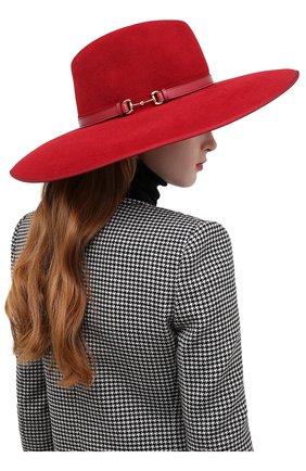Женская фетровая шляпа с мехом кролика GUCCI красного цвета, арт. 644474/4HABK | Фото 2 (Материал: Шерсть)