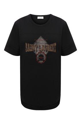 Женская хлопковая футболка SAINT LAURENT черного цвета, арт. 673411/Y36LW   Фото 1 (Материал внешний: Хлопок; Длина (для топов): Стандартные; Рукава: Короткие; Стили: Спорт-шик; Принт: С принтом; Женское Кросс-КТ: Футболка-одежда)